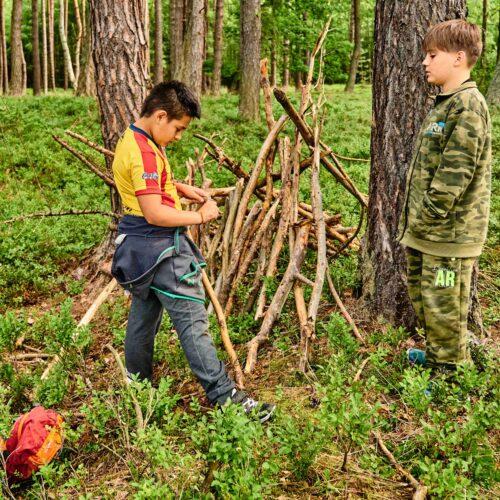 Prostor dostala i výstavba lesních obydlí.