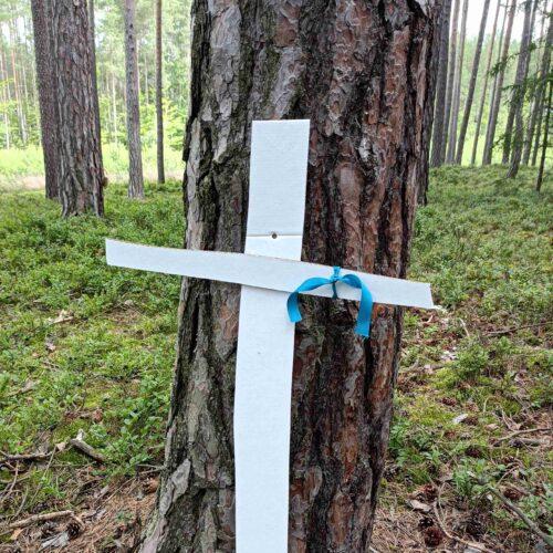 Každý opravený kříž nese družinové barevné označení, to aby bylo jasné, komu směrovat vděk.